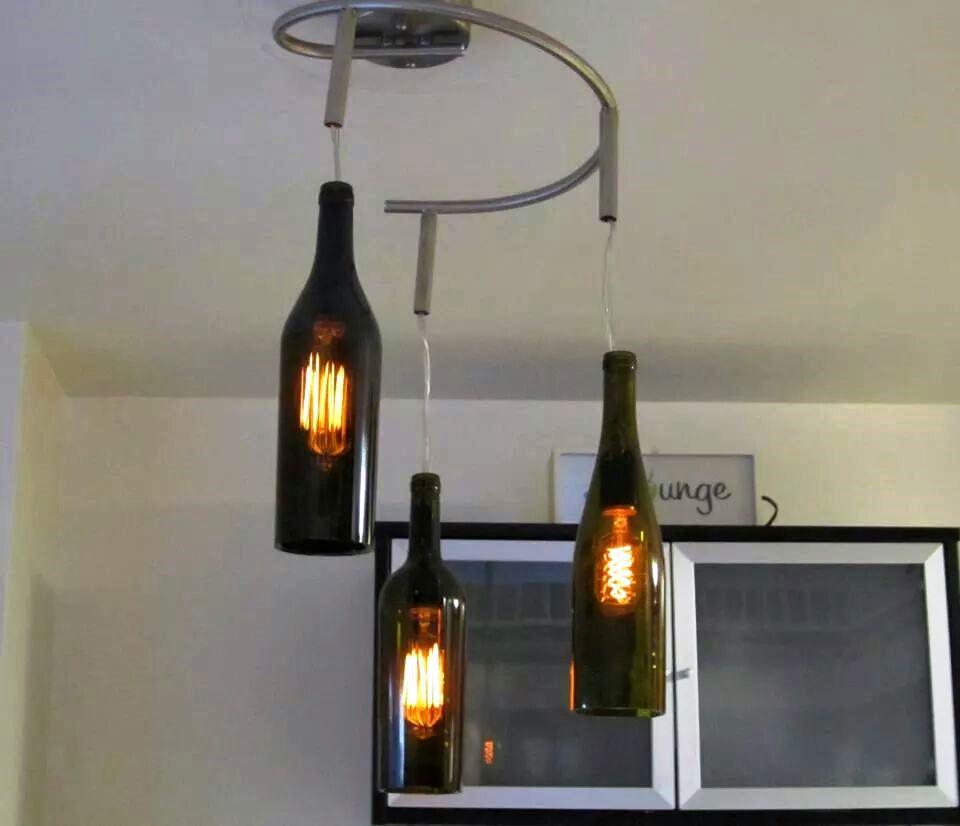 Eco-Friendly Apartment Decorating Tips - Upcycled Wine Bottle Lighting