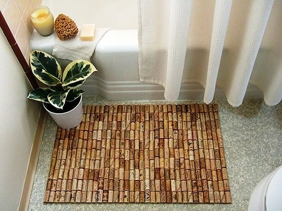 Eco-Friendly Apartment Decorating Tips - Wine Cork Bath Mat
