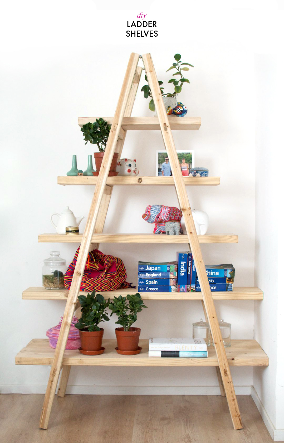 Easy DIY Projects for the Weekend Warrior - Ladder Shelf