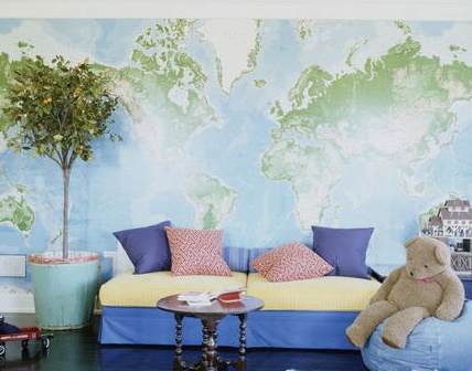 Decorating with Maps - Wallpaper