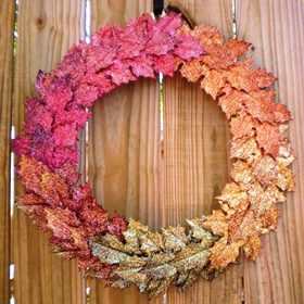 DIY Fall Wreath Ideas - Fall Leaves with Glitter