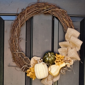 DIY Fall Wreath Ideas - Natural Twig with Gourds
