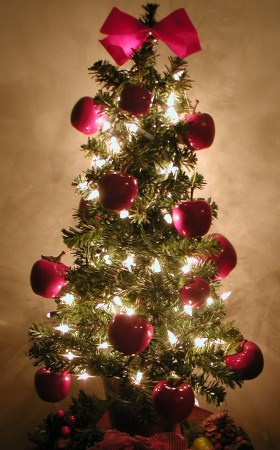 holiday decorating mini christmas tree with apples - Rent Christmas Decorations