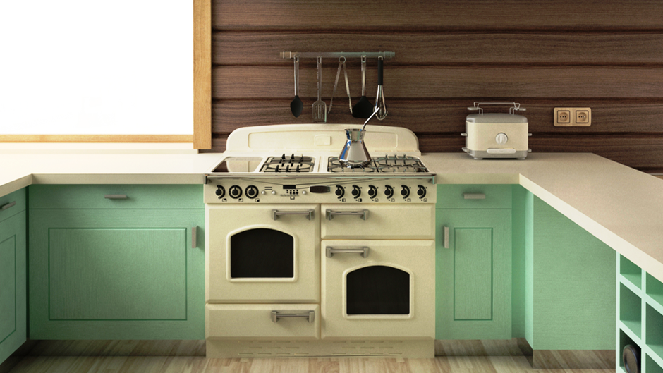 Old Kitchen With Mint Green Cabinets