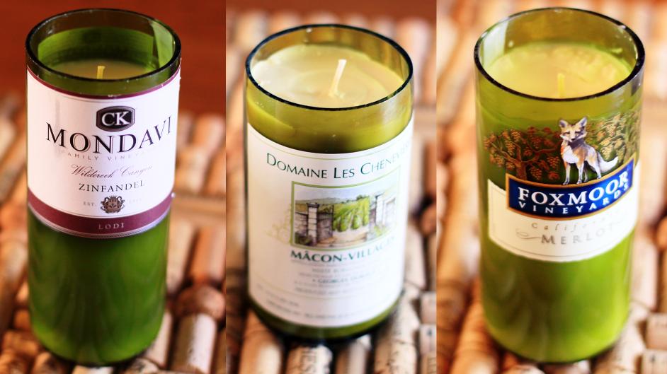 Wine Bottle Crafts for DIY Decor: Candles