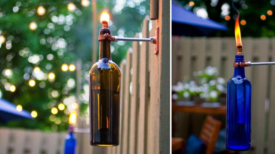 Wine Bottle Crafts for DIY Decor: Tiki Torch
