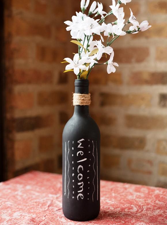 Wine Bottle Crafts for DIY Decor - Wine Bottle Vase