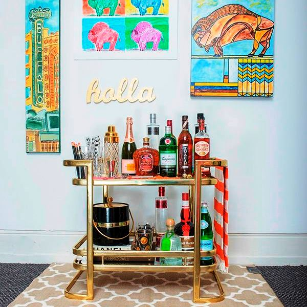 Home Bar Ideas for Your Apartment - Bright and Fun Bar Cart