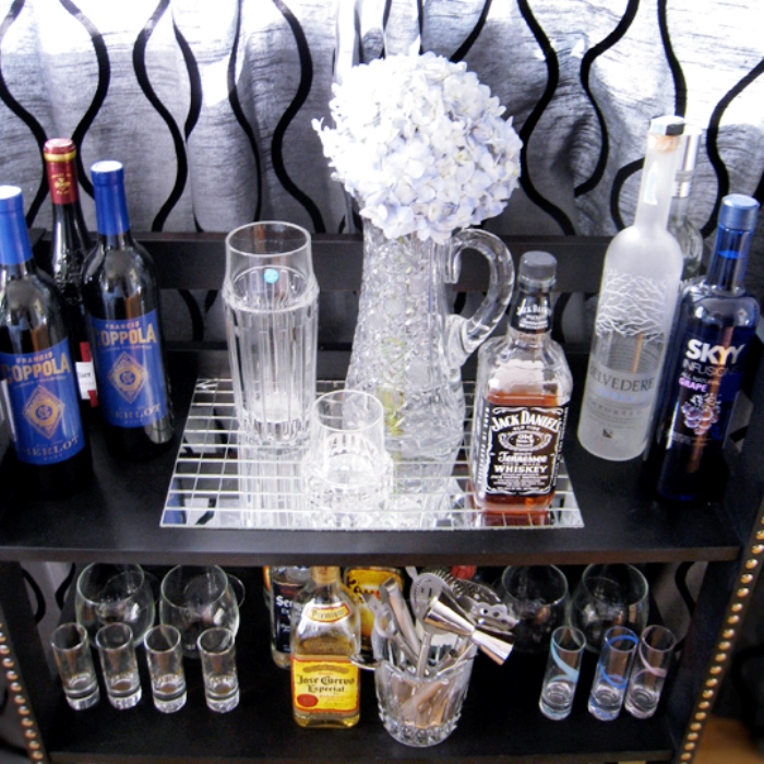 Home Bar Ideas for Your Apartment - Small Black Bookcase