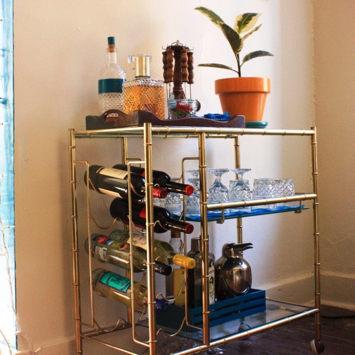 Home Bar Ideas for Your Apartment - Vintage Brass Bar Cart