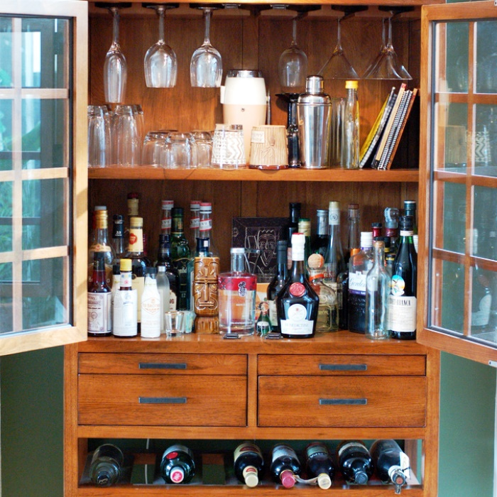 Home Bar Ideas for Your Apartment - Wooden Bookcase