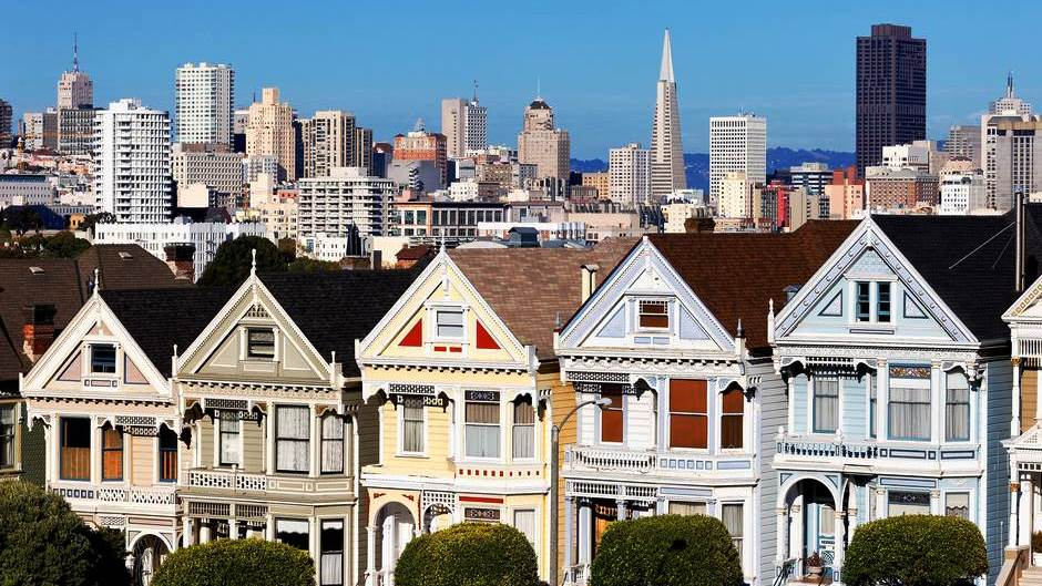 San Francisco Painted Ladies with skyline