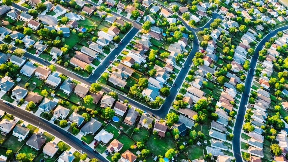 San Antonio suburban housing development neighborhood, aerial view