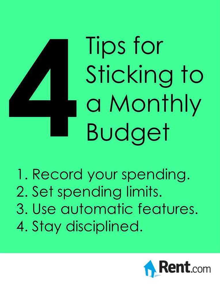 4 Tips for Sticking to a Monthly Budget Graphic