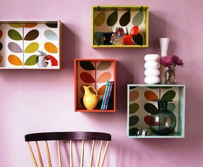 DIY Wall Decor - Boxes as Shelves