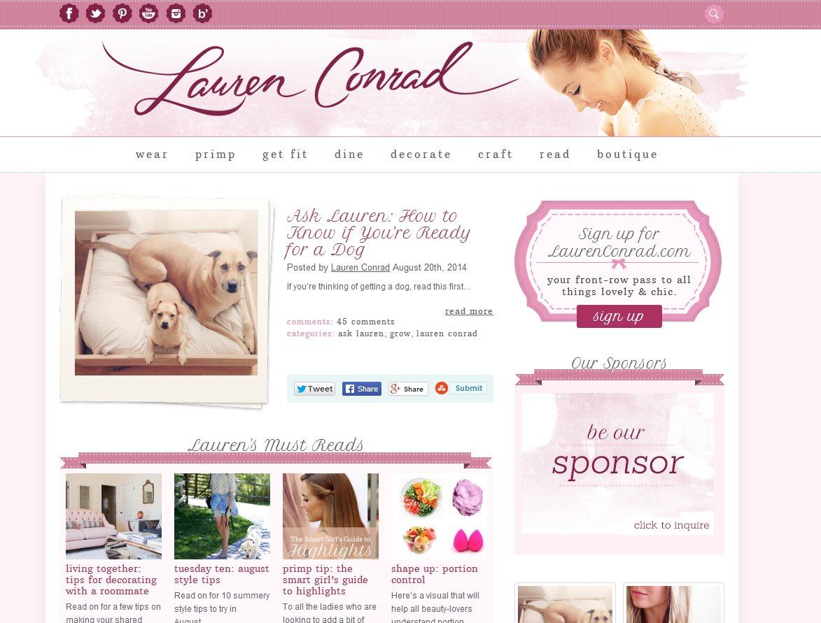 Celebrity Blogs - Lauren Conrad