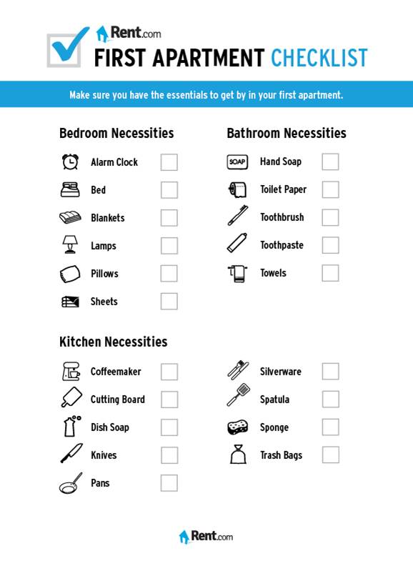 Your First Apartment Checklist Rent Com Blog