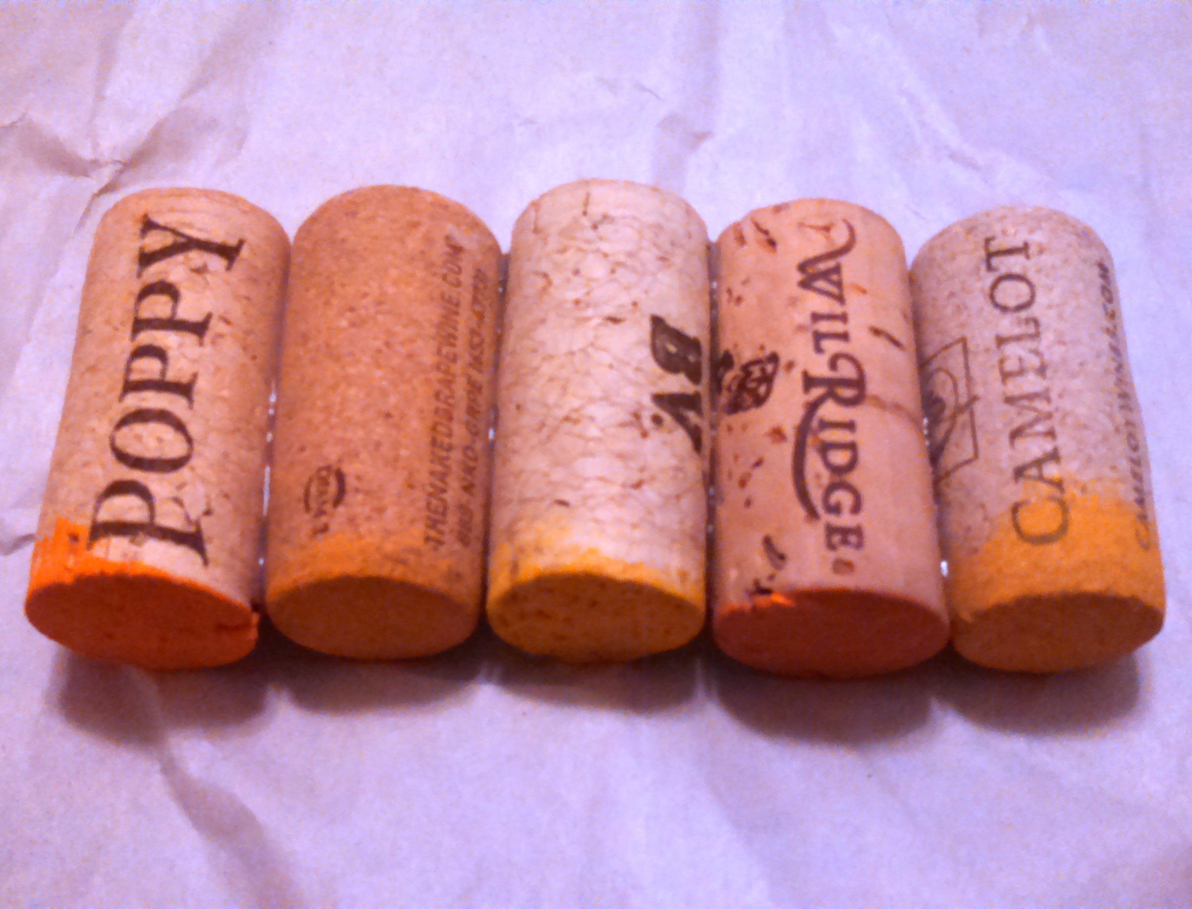 Glue first row of wine cork pumpkin