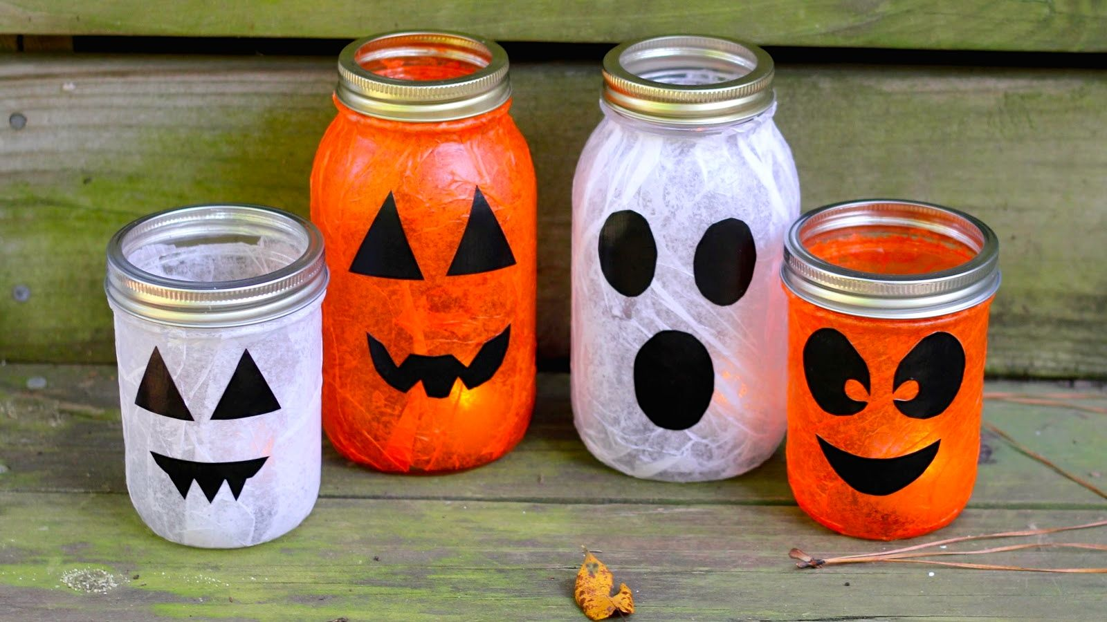 halloween pumpkin and ghost mason jars - Preschool Halloween Crafts Ideas