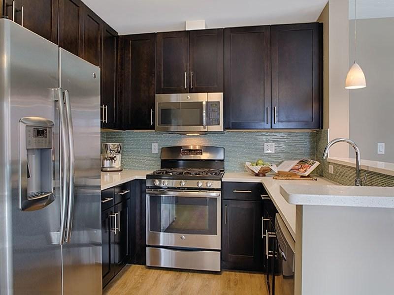 Kitchen at Axiom Apartments in Boston