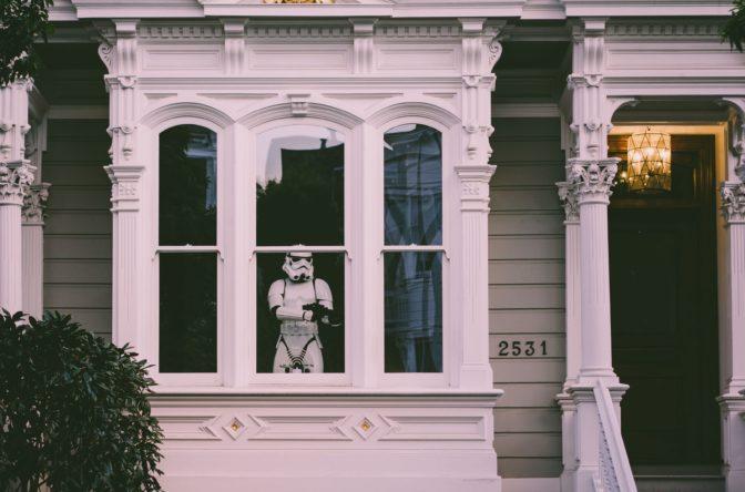 storm trooper standing guard
