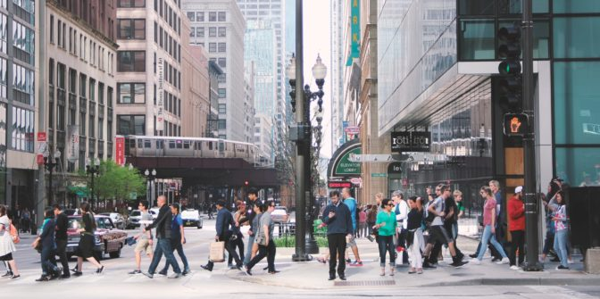 people walking in downtown chicago