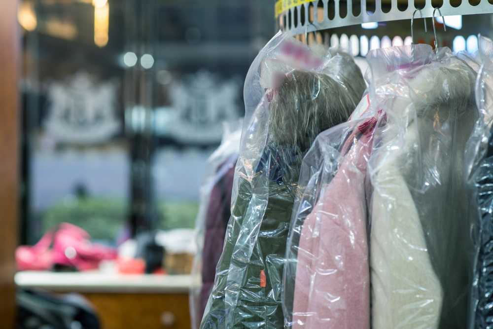 clothes at a dry cleaner