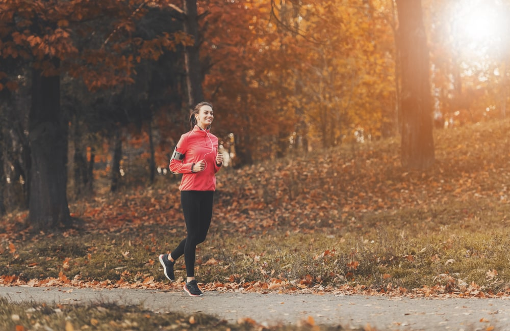 person running in fall