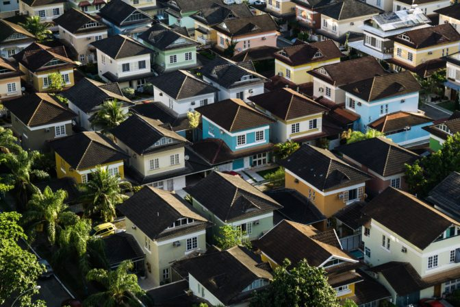 aerials of single family homes