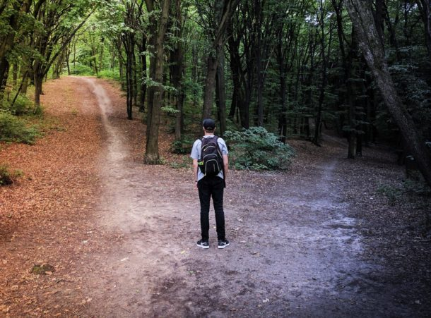 person deciding between two paths