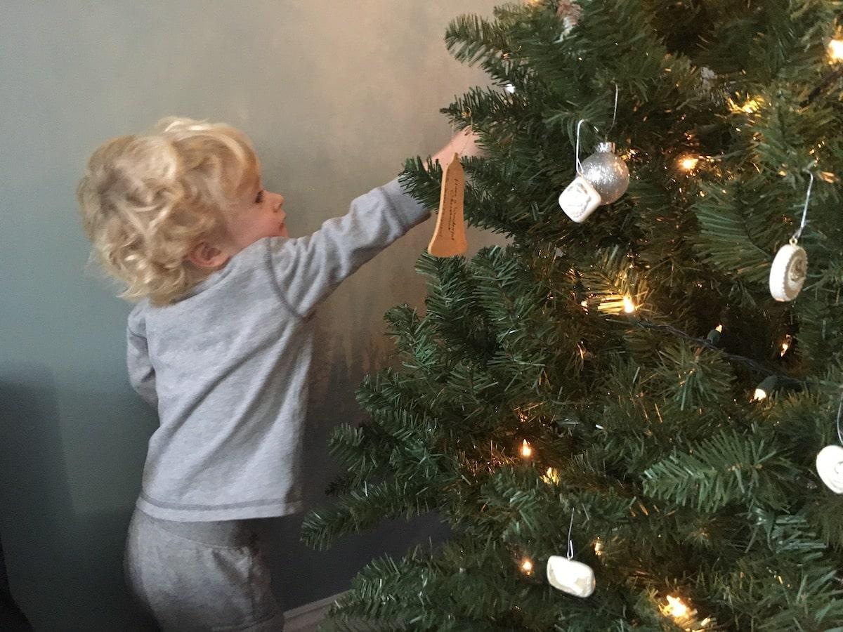kid grabbing onto tree