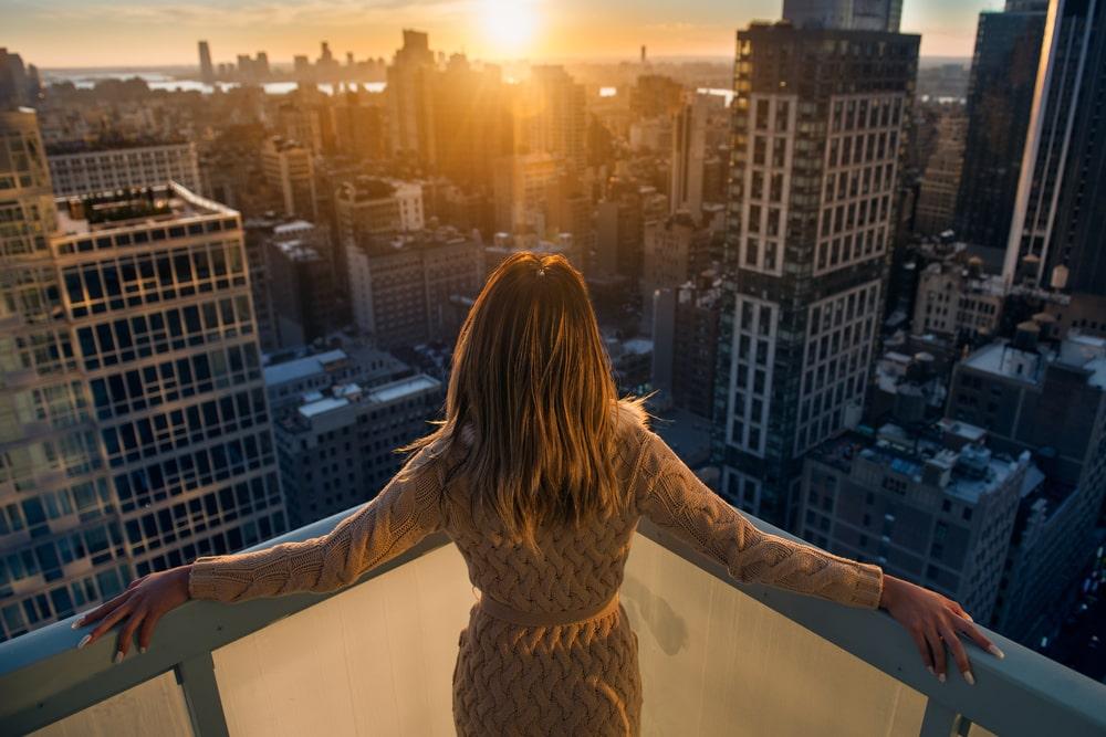 woman at city apartment