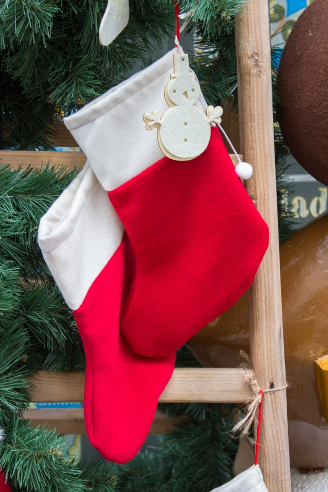 stockings on wooden ladder
