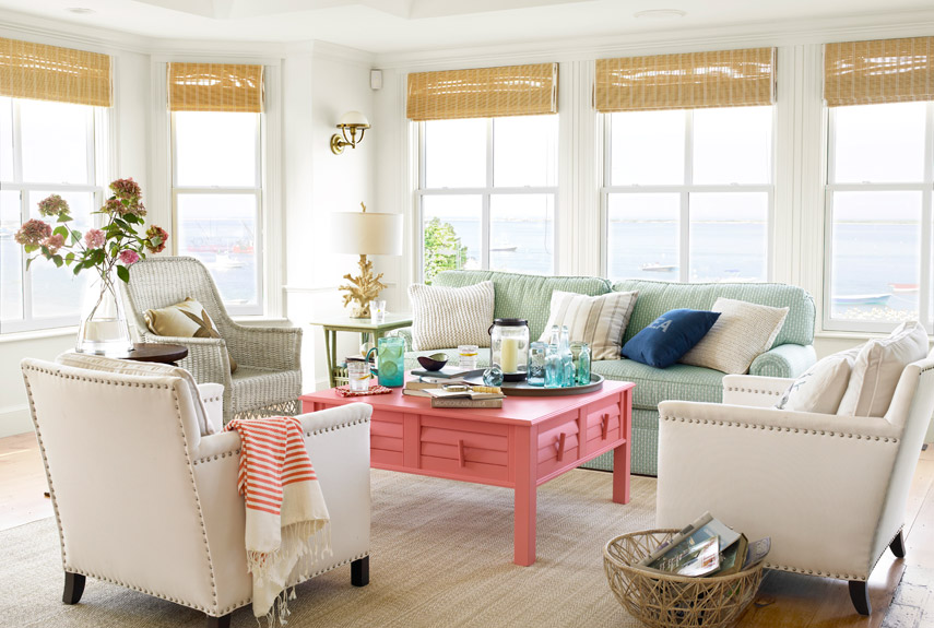 living coral coffee table