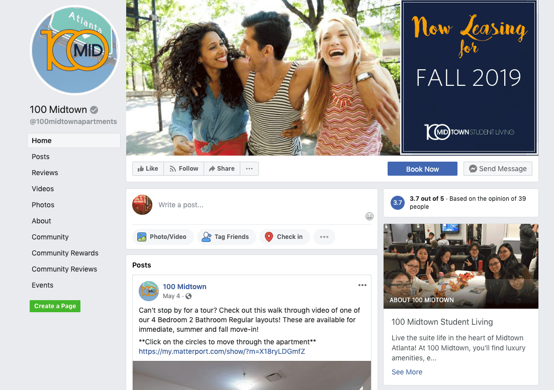 facebook page for 100 midtown