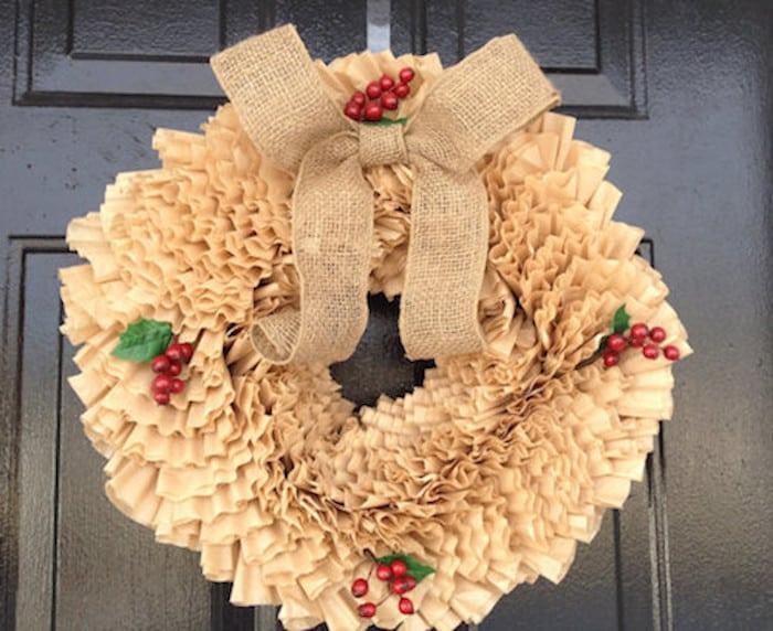 coffee filter Christmas tree wreath