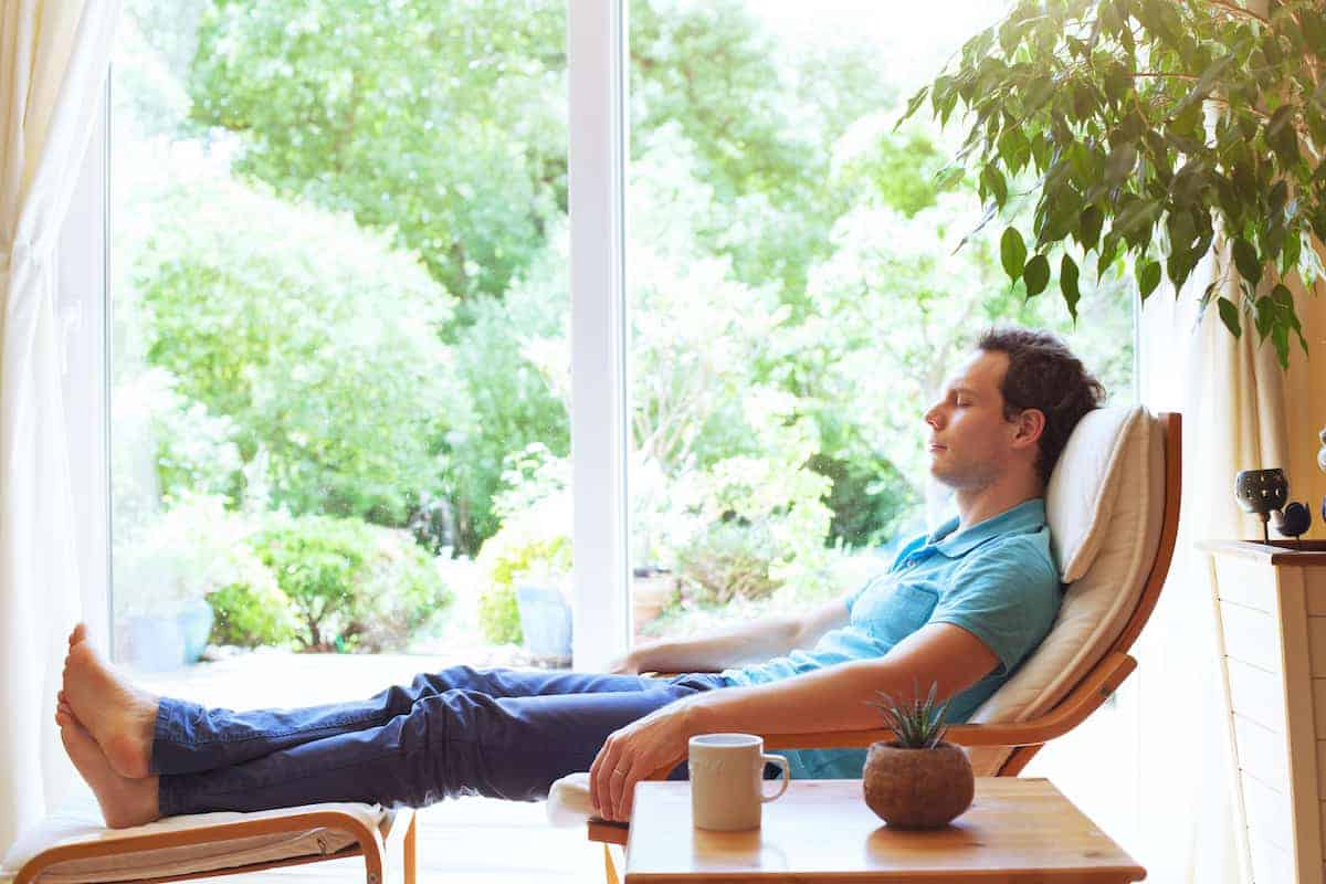 relaxing with houseplants