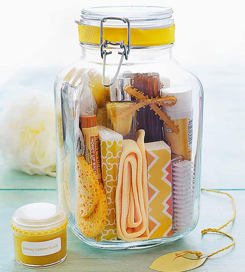 Homemade spa jar filled with beauty products