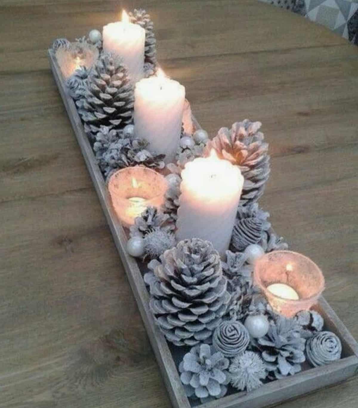 candle lit christmas centerpiece