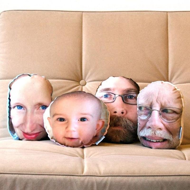 Family photos turned into throw pillows