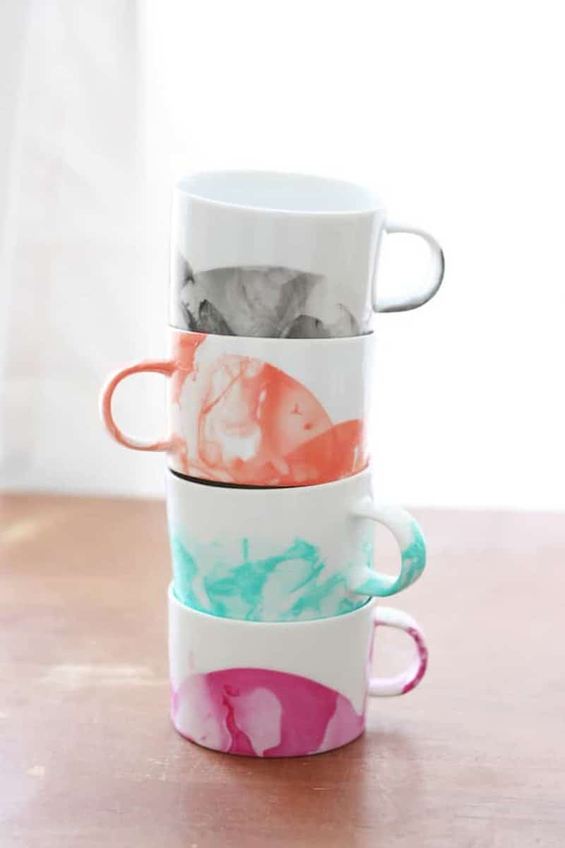 hand painted marbled coffee mugs