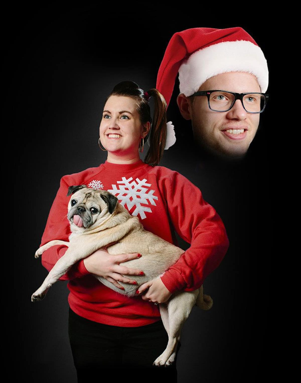 montage of couple with pug