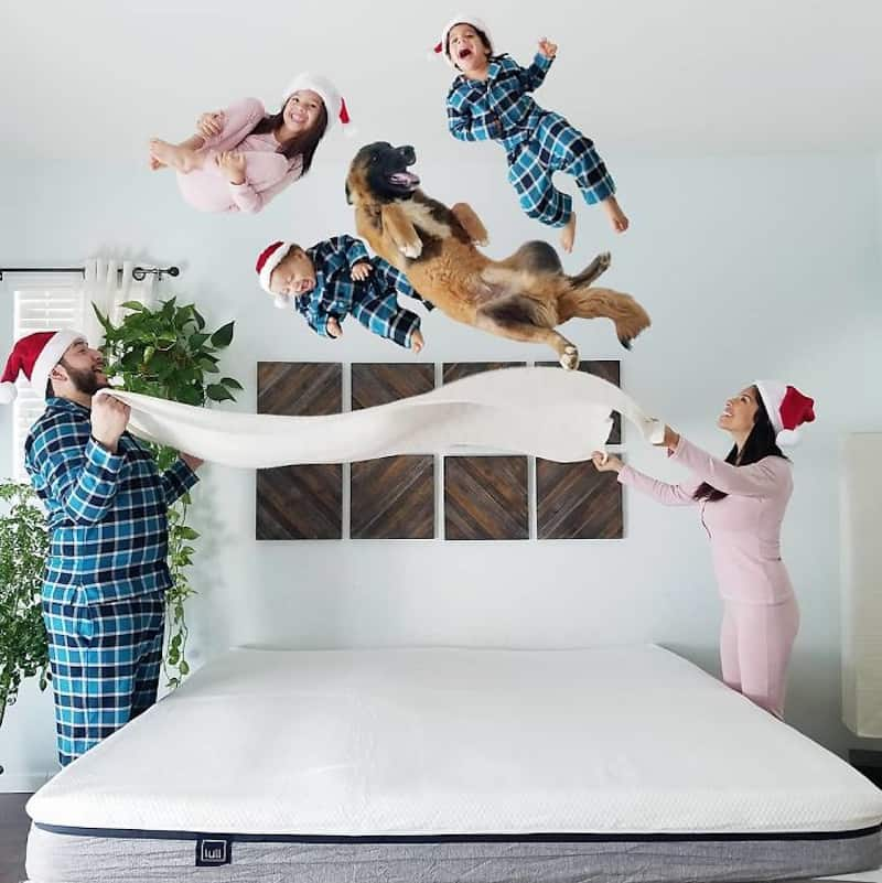 Family children and dog being thrown by a sheet parachute