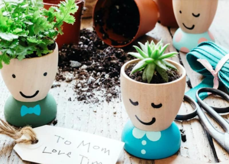 Painted flower pots with fun faces