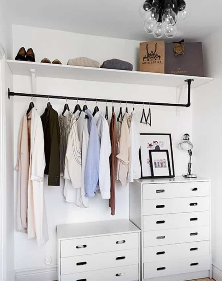 DIY closet in an unused part of a room