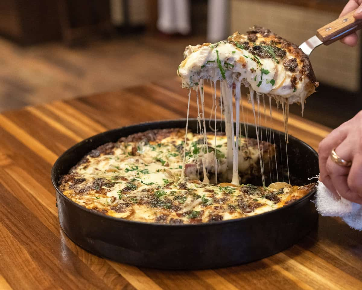 Deep dish pizza from Labriola