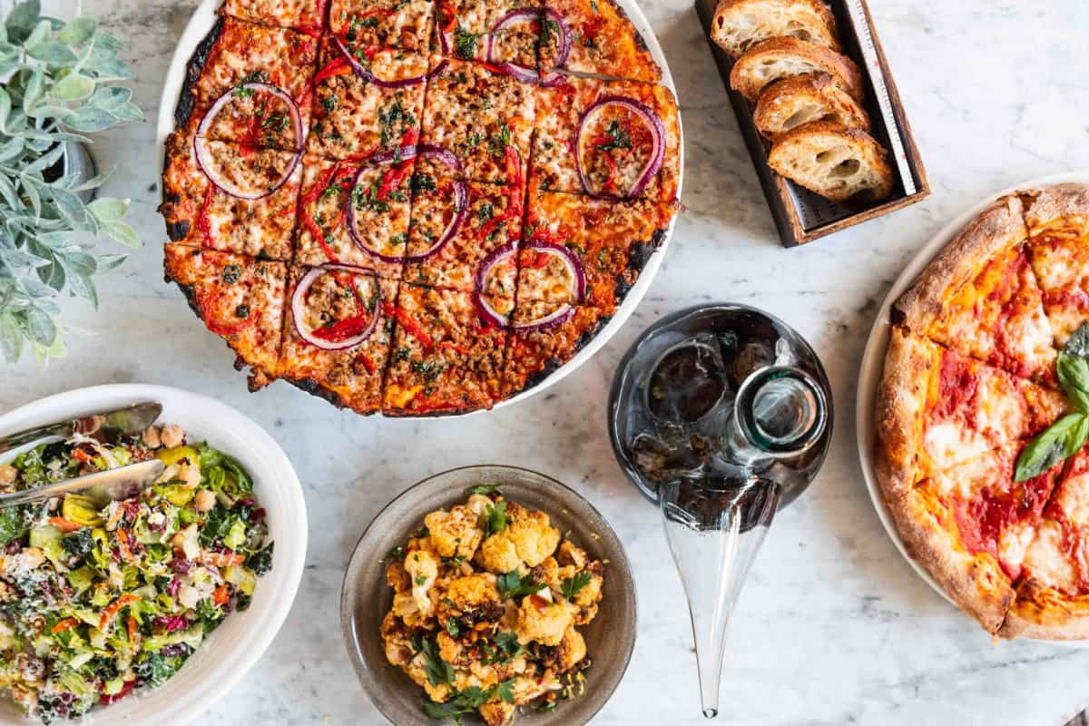 Pizza and menu Items from Stella Barra Pizzeria & Wine Bar in Chicago