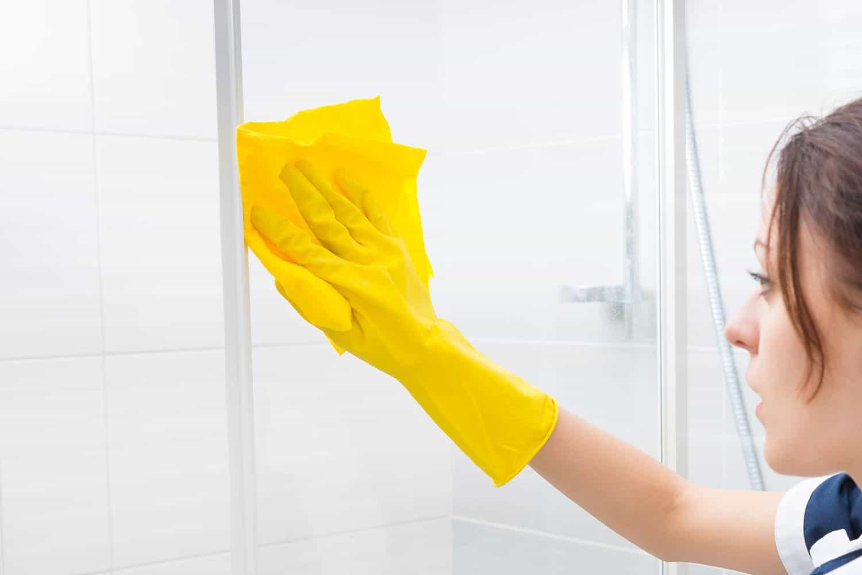 drying shower door with towel