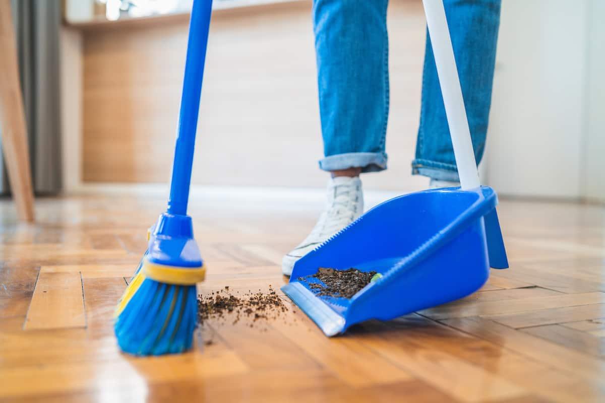 dusting floor