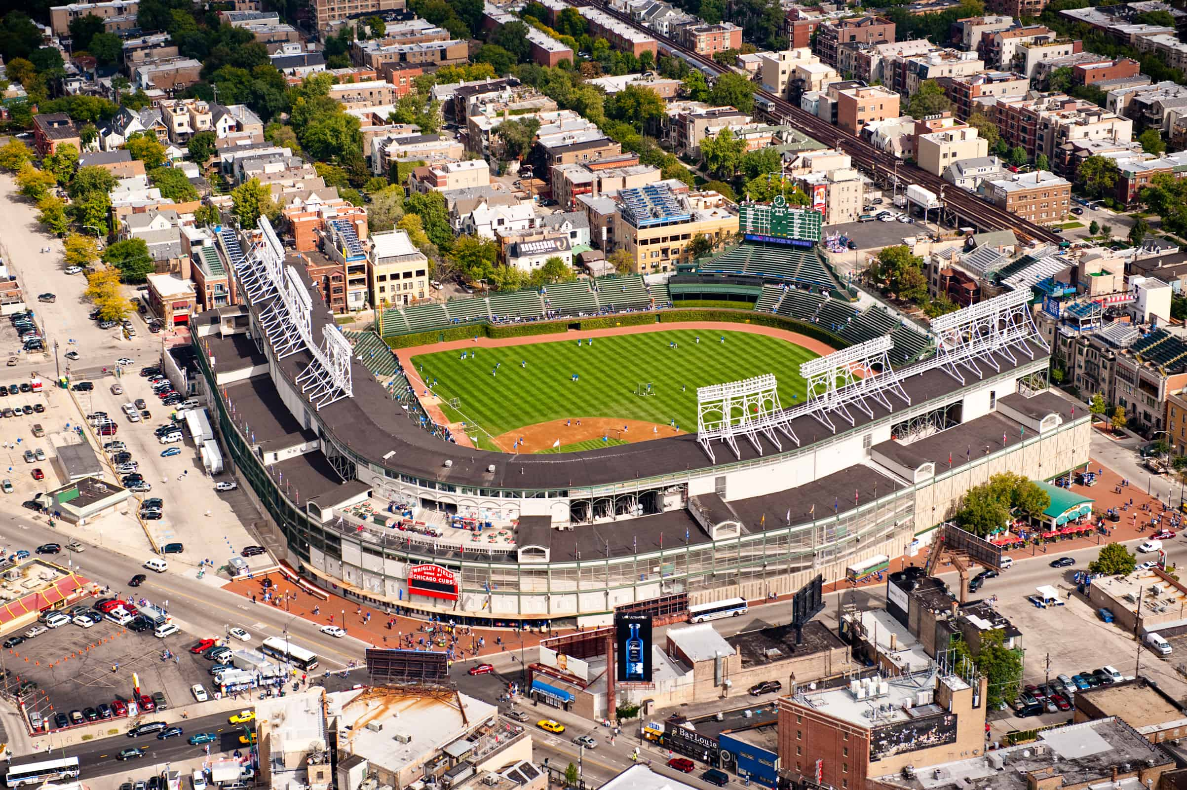 Aerial view of Wrigley Field and the surrounding Lakeview neighborhood.